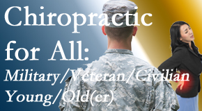 Manahawkin Chiropractic Center provides back pain relief to civilian and military/veteran sufferers and young and old sufferers alike!