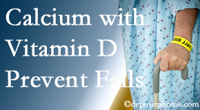 Calcium and vitamin D supplementation may be recommended to Manahawkin chiropractic patients who are at risk of falling.