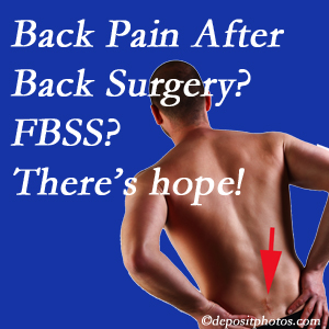 Manahawkin chiropractic care has a treatment plan for relieving post-back surgery continued pain (FBSS or failed back surgery syndrome).