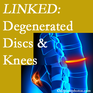 Degenerated discs and degenerated knees are not such unlikely companions. They are seen to be related. Manahawkin patients with a loss of disc height due to disc degeneration often also have knee pain related to degeneration.