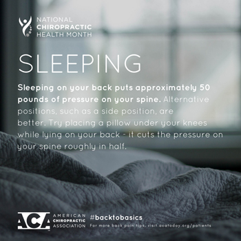 Manahawkin Chiropractic Center recommends putting a pillow under your knees when sleeping on your back.